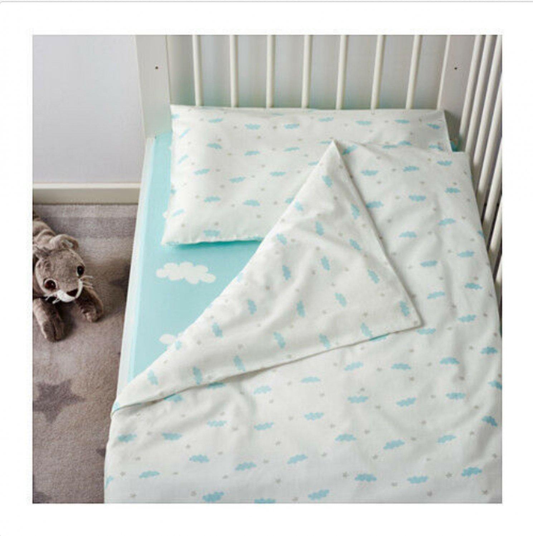IKEA Himmelsk 4 piece CRIB Bedlinen SET Duvet Cover Pillowcase Sheet Skirt CLOUDS Blue Toddler