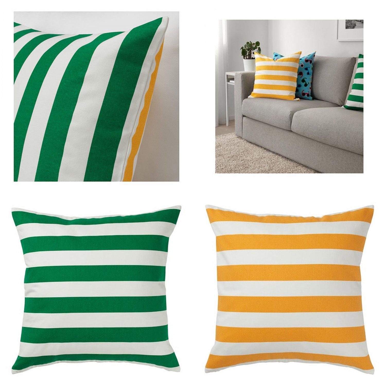 IKEA SOMMAR 2019 Pillow COVER Sham Cushion Cvr GREEN YELLOW Stripes Reversible