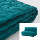 IKEA Lycksele Sofa Bed SLIPCOVER Futon Cover VALLARUM TURQUOISE Green Blue Quilted