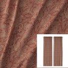 IKEA Hakvinge Drapes CURTAINS  Dark Red Brown 2 Panels Leaf Pattern MCM Rust