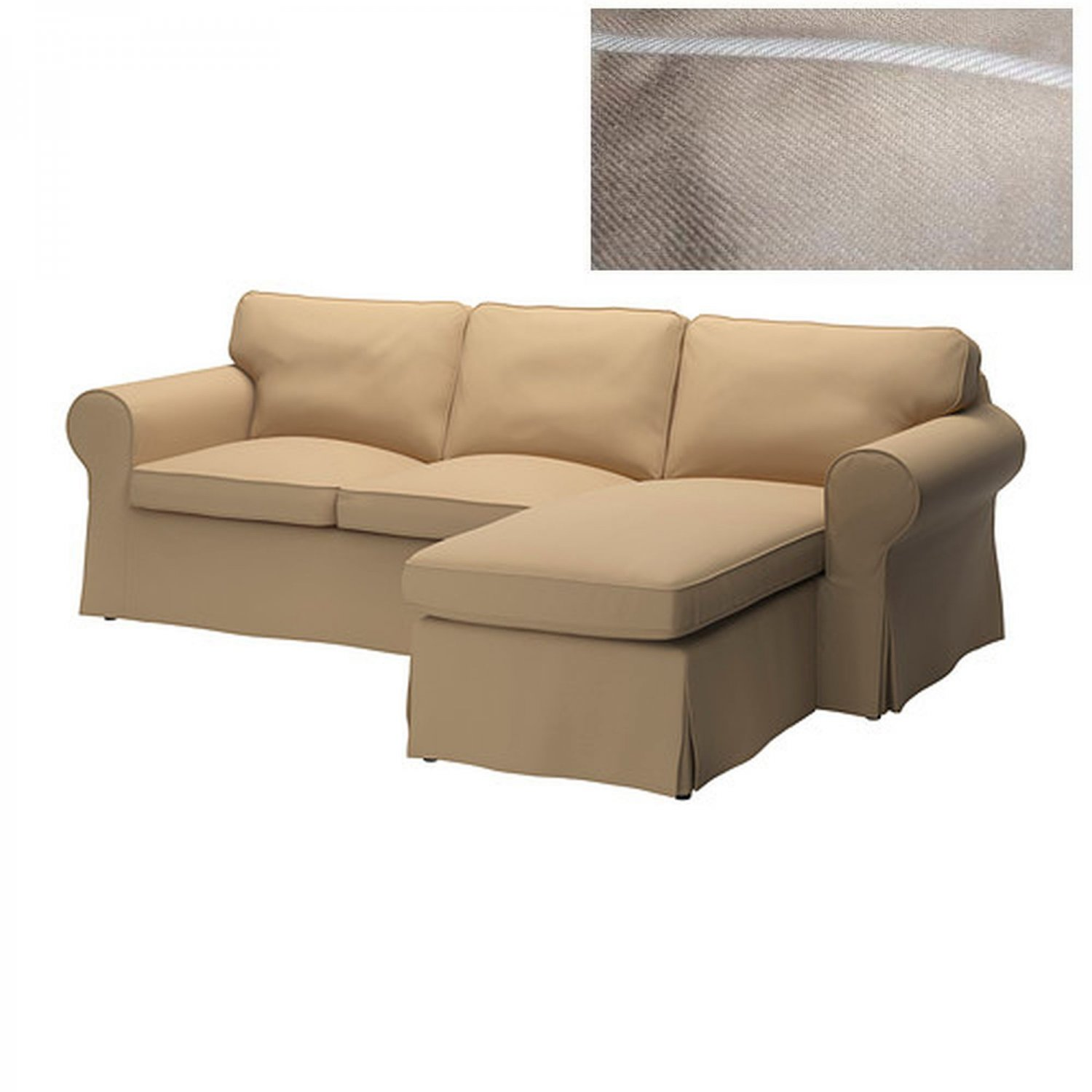 IKEA EKTORP Loveseat sofa with Chaise COVER Slipcover IDEMO BEIGE w Piping