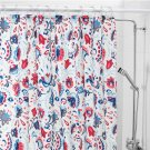 IKEA Kratten Scandinavian Floral FABRIC SHOWER CURTAIN Red White Blue Tolle Folk Art