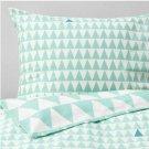 IKEA Stillsamt TWIN Duvet COVER Pillowcase Set LIGHT TURQUOISE green Zigzag Stripes Retro