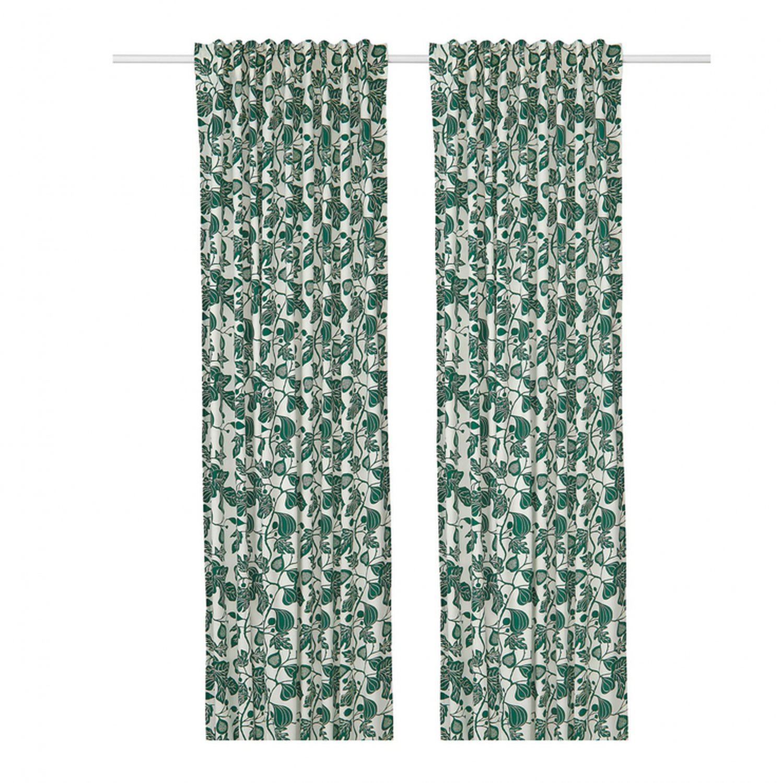 """IKEA Alpklover CURTAINS Drapes Dark Green Leaf ALPKL�VER floral vine 98""""L"""
