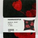 "IKEA Hannasofia Cushion COVER Pillow Sham  20"" x 20"" Velvet RED Black Floral Boho"