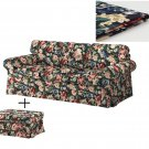 IKEA Ektorp 3 Seat Sofa and Footstool COVERS Slipcover LINGBO MULTI FLORAL Bezug Housse