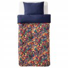 IKEA Lustigt TWIN Duvet COVER and Pillowcase Set Fanciful Alien Cityscape Blue Multi