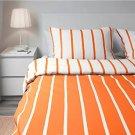 IKEA Tuvbracka QUEEN Full Duvet COVER Pillowcase Set ORANGE White Stripe TUVBRÄCKA Double