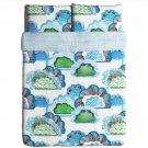 IKEA Doftranka Queen DUVET COVER and Pillowcases Set Multicolor Blue Green Gray Cloud Zen Sky