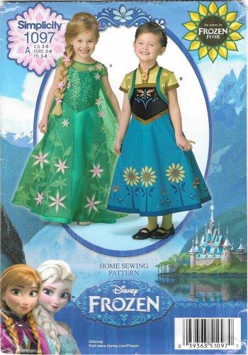 1097-UNCUT-Simplicity-Sewing-Pattern-Anna-Elsa-Frozen-Dress-Halloween-Costume-FF