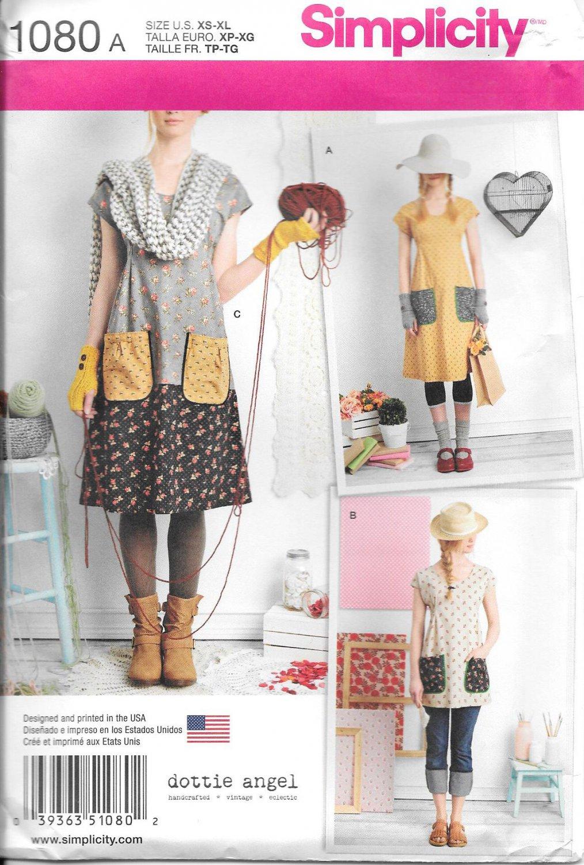 Simplicity 1080 Misses Dress or Tunic Dottie Angel Pattern Size A (XS-S-M-L-XL)