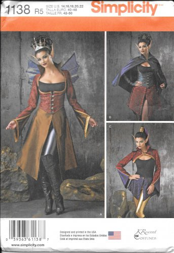 SIMPLICITY 1138 K Rescent Medieval Elf Fairy Costume Pattern Size 14, 16, 18, 20, 22