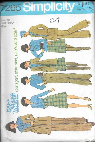 1970s Simplicity Cardigan Shirt A-Line Skirt Flared Pants Scarf Size 10 Vintage Sewing Pattern 7265