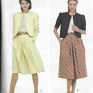 1980s McCalls Below Waist Jacket Pleated Full Skirt Size 14 Vintage Sewing Pattern 7910