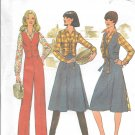 1970s Simplicity Reversible Vest Shirt Back Wrap Skirt Flared Pants Size 10 Sewing Pattern 7675