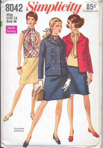1960s Simplicity Ascot Blouse A-Line Skirt Double Breasted Jacket Size 14 Pattern 8042