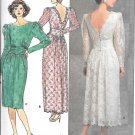 1980s Butterick Low Cut Back Evening Dress Gown Size 8 10 12 Vintage Pattern 4902