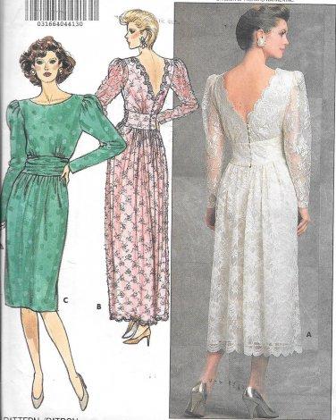 1980s Butterick Low Cut Back Evening Dress Gown Size 8 10 12 Vintage Pattern 4902