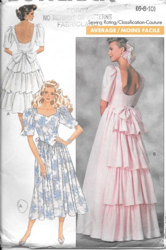 1980s Butterick Low Cut Back Ruffled Evening Dress Gown Size 6 8 10 Vintage Pattern 6939