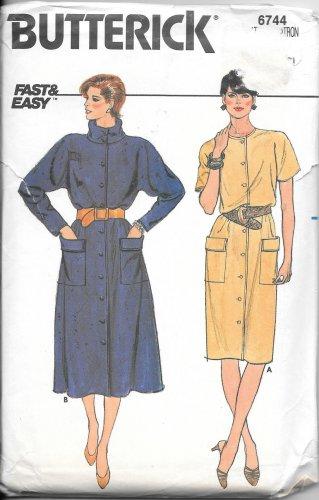 Butterick Straight Flared Skirt Shirt Dress Size 12 14 16 Vintage Sewing Pattern 6744