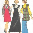 1970s Simplicity Petite Misses Jumper Dress Blouse Size 16 Sewing Pattern 5373