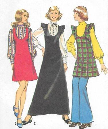 1970s Simplicity Petite Misses Jumper Dress Blouse Size 16 Sewing Pattern 5373