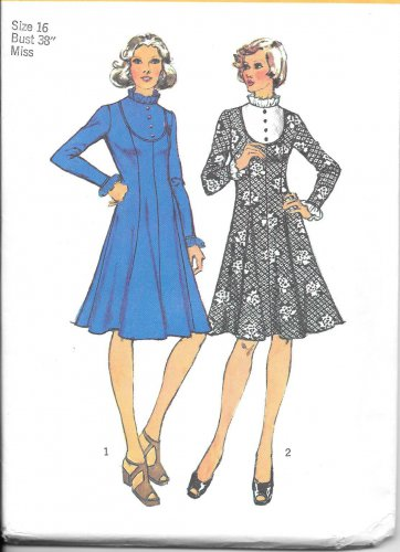 1970s Simplicity Princess Seamed Yoked Dress Size 16 Vintage Sewing Pattern 5964