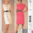 1980s McCalls Sleeveless Button Front Straight Dress Size 14 Vintage Sewing Pattern 9118