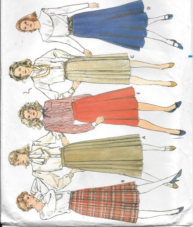 Butterick  Pleated Gored Long Skirt Size 6 8 10 Vintage Sewing Pattern 4717