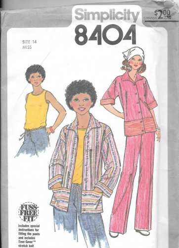 1970s Simplicity Jacket Shirt Flared Pants Size 14 Vintage Sewing Pattern 8404