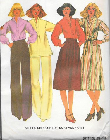 1970s McCalls Pullover Dress Flared Top Skirt Pants Size 14 Vintage Sewing Pattern 5678