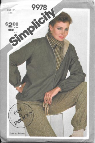 1980s Simplicity Zip Front Blouson Reversible Jacket Size 10 Vintage Sewing Pattern 9978