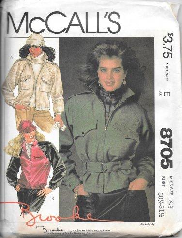 1980s McCalls Lined Jacket Belt Size 6 8 Vintage Sewing Pattern 8705