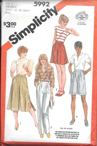 1980s Simplicity Flared Pants Culottes Size 8 10 12 Vintage Sewing Pattern 5992