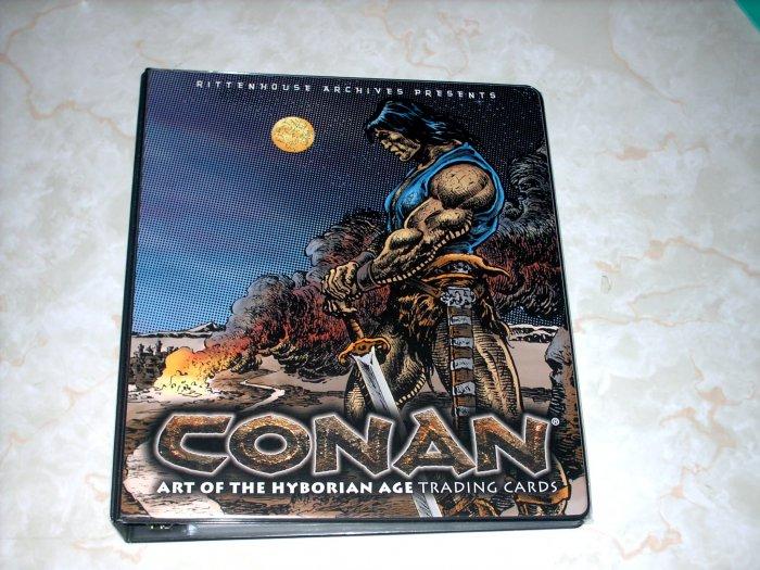 CONAN HYBORIAN AGE BINDER, BASIC SET, AND DARREN AUCK BINDER CARD