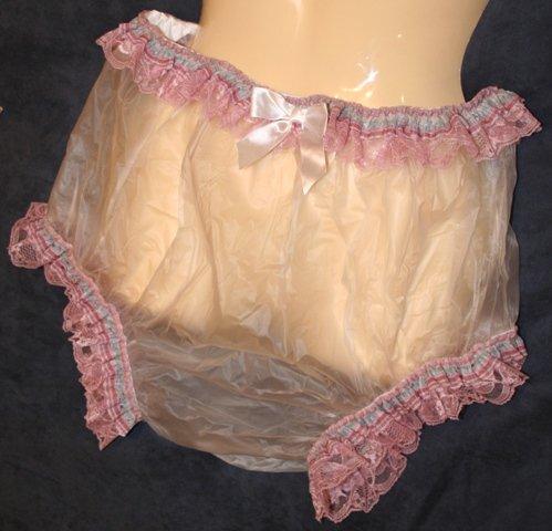 ** Adult Baby Sissy Lacy Plastic / Vinyl Waterproof Panty or Diaper Cover **