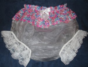 ** Adult Baby Sissy Pretty Pink n Blue Lacy Plastic Panty or Diaper Cover