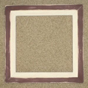 6X6 Faux Double picture frame dark red & white