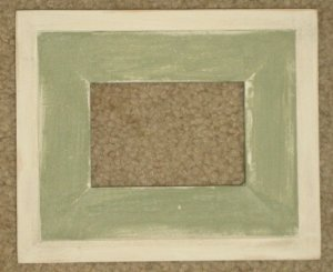 ACEO HAND MADE WOOD PICTURE FRAME 2½X3½ SAGE/WHITE