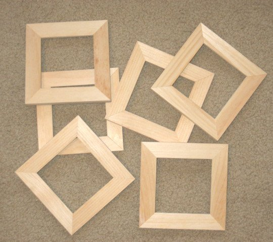 6 Unfinished 4x4 Wood Picture Frames 1 Wide Moulding
