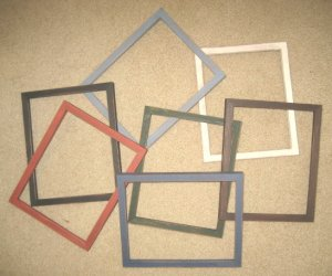 "Primitive Pine 5x10, 7x7, & 6x8 frames in 5/8"" wide moulding"