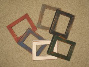 ACEO FRAMES (6) primitive distressed in 2.5 x 3.5 size