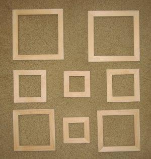 Mini frames assortment of 8 unfinished wood new