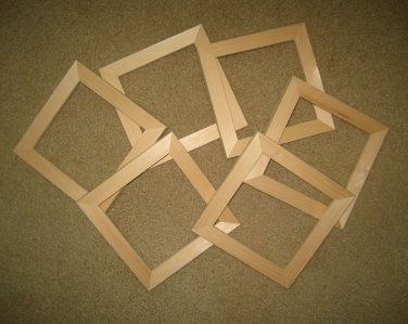 "Unfinished picture frames six 6x6's in a 1"" wide moulding"