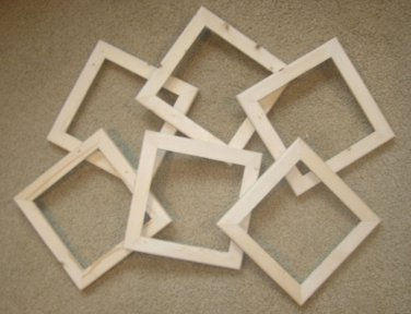 """6 unfinished 8x8 wood picture frames in a 1"""" wide rough cut moulding"""
