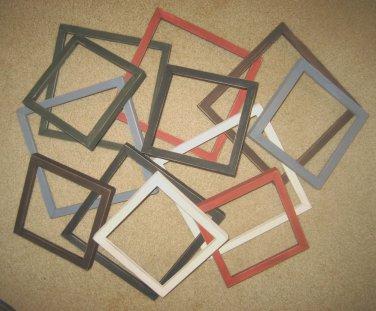 Primitive picture frames - 12 - 6x6's & 8x8's - 6 each - 6 different colors