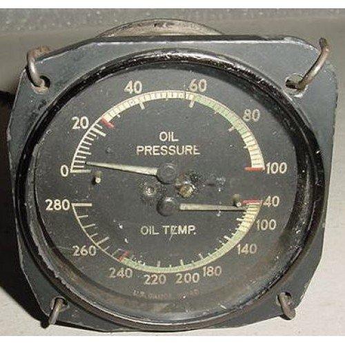 WWII Aircraft 2 in 1 Oil Pressure, Oil Temperature Indicator