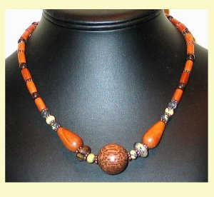 Awesome Yellow Turquoise,Copper & Wood Necklace-FreeS/H