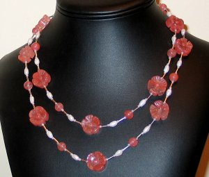 Awesome Cherry Quartz & Pearl Boho Style Nk.- FreeS/H