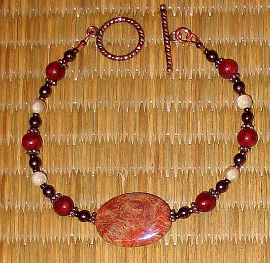 Awesome Fossilized Coral & Copper Bracelet---FreeS/H